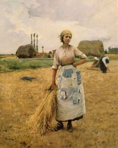 """Les femmes à la moison à Auvers-sur-Oise, c. 1885-1890 """"  Charles Sprague-Pearce - (1851-1914)"""