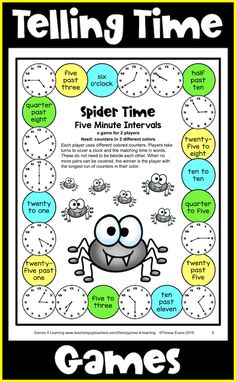 This collection of telling time activities includes telling time games and other activities too! The games come in color and BW. There are telling time color by number activities too and also cut and paste activities! Telling Time Games, Telling Time Activities, End Of Year Activities, Number Activities, Third Grade Math Games, Second Grade, Teaching Style, Teaching Ideas, Game 4
