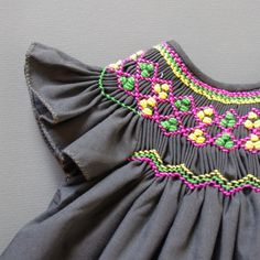 coquito smocked baby dress - french touch..MT: Love the smocking and the colors
