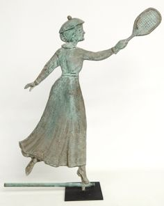A lady tennis player weathervane in old copper verdigris sold at $8,050.