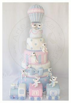 Cake de osos aventureros. Perfecto para un Baby Shower.