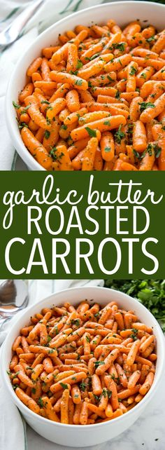 These Garlic Butter Roasted Carrots make the perfect holiday side dish for your Christmas or Thanksgiving dinner! They're on the table in 30 minutes or less with only 4 ingredients! Recipe from thebusybaker.ca! #thanksgiving #christmas #holiday #dinner #sidedish #easysidedish #vegetarian #vegan #butter #roasted #carrots #vegetables #recipe via @busybakerblog