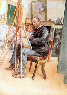Painting by the famous Swedish artist Carl Larsson. In the picture the artist himself and his son.