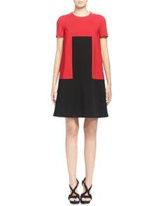 B2WMP Alexander McQueen Rectangle-Designed Colorblock Shift Dress, Red/Black