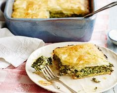 Cheese and greens filo pie
