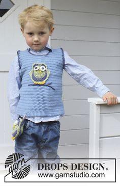 """Free pattern! Crochet DROPS vest in """"Merino Extra Fine"""". Size 3 - 12 years."""