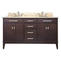 "Avanity MADISON-VS60 Madison 60"" Free Standing Vanity Set with Wood Cabinet Sto Light Espresso / Beige Marble Top Fixture Vanity Double"