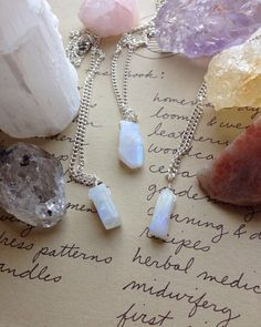 Rainbow Moonstone Necklace-Rainbow Moonstone-Silver Raw Rainbow Moonstone-Moonstone Jewelry-Crystal Necklace