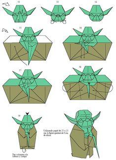 Star Wars - Origami Yoda Step by Step Origami Design, Instruções Origami, Origami And Kirigami, Origami Dragon, Origami Fish, Paper Crafts Origami, Paper Crafting, Origami Plane, Origami Turtle