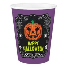 #Happy Halloween Jack o Lantern Paper Cup - #halloween #paper #cups #party #supplies