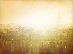 Paris illustration  Morning hope  Fine art illustration by tubidu, $20.00