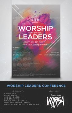 Buy Worship Leaders Conference Flyer by VORSA on GraphicRiver. 1 PSD files Print Ready in + bleed 300 dpi, cmyk Simple to customize Well organized Layers objects and effects a. Church Graphic Design, Church Design, Flyer Design Inspiration, Design Ideas, Multimedia, Free Psd Flyer Templates, Church Logo, Event Signage, Concert Flyer