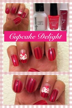 """This nail design is called """"Cupcake Delight"""" - a striped standout nail look! I learned how to do this technique on YouTube. Click on the picture to see my inspiration."""
