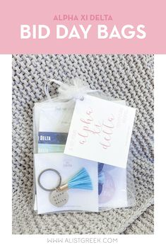 Spoil your new members this recruitment with the Pref Present bundle! Gift bag includes a sorority tassel keychain, hair tie set, and button set. Alpha Xi Delta Gifts | Alpha Xi Delta Bid Day | AXiD New Member Gifts | Alpha Xi Rush Gift Bags | Alpha Xi Delta Recruitment | Sorority Bid Day | Sorority Recruitment | Bid Day Bags | Sorority New Member Gift Ideas #BidDayGifts #SororityRecruitment Sorority Bid Day, Sorority Recruitment, Sorority Gifts, Omega Alpha, Alpha Sigma Alpha, Bid Day Gifts, Greek Gifts, Tassel Keychain, Elastic Hair Ties