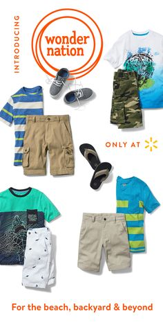 Boys will be boys and they can with these cool comfy shorts and tops. From cargo to khaki to printed and more, we've got a short for every day of summer and a top to match. That's what Wonder Nation is all about with on-trend styles, prints, patterns, comfortable fit & solid craftsmanship to let your kids be kids while looking their best. It's kid fashion made simple. From cool graphics, stripes & wardrobe staples to shoes & accessories, find all your children's outfits at Walmart.