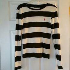 Ralph Lauren Sport Long Sleeve Tee Brown & off white stripes, 100% cotton Ralph Lauren Sport Tops Tees - Long Sleeve