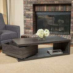With a rotating top and an extra storage drawer underneath this table is multi-functional and unique. Make a statement in your home with the Jack rectangular rotating wood coffee table.