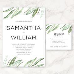 Watercolor Olive Branch - Wedding Invitation - Greenery - Floral - Printable Wedding Invitation