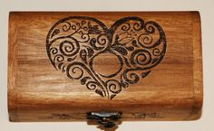 Hearts and Flowers trinket box pyrography woodb... - Folksy