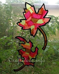 Autumn Craft for Kids - Paper Autumn Leaves Window Decorations