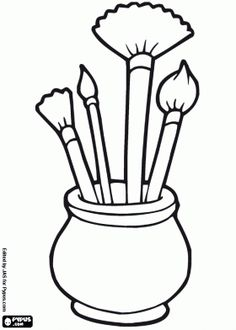 Borstels kleurplaat Pattern Coloring Pages, Coloring Sheets, Adult Coloring, Drawing School, Color Activities, Art Graphique, Art Party, Stained Glass Patterns, Paint Shop