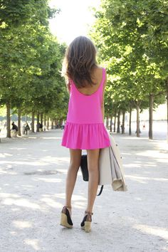 5. Drop it like it's hot. Drop waist dresses are flirty and romantic, especially in a bright color like this hot pink