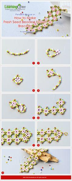 Pandahall Tutorial on How to Make Fresh Seed Beaded Flower Bracelet from LC.Pandahall.com