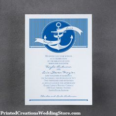 Perfect for a nautical wedding theme is this Free Spirit Invitation with its anchor design.  www.PrintedCreationsWeddingStore.com   #nauticalweddinginvitations