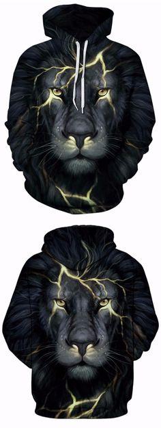 Kangaroo Pocket 3D Lion Face Print Hoodie