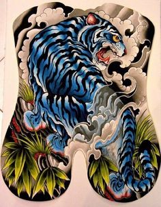 Full Back Tattoos, Full Body Tattoo, Body Art Tattoos, Sleeve Tattoos, Koi, Chinese Tattoo Designs, Japanese Tiger Tattoo, Tiger Sketch, Tiger Tattoo Design