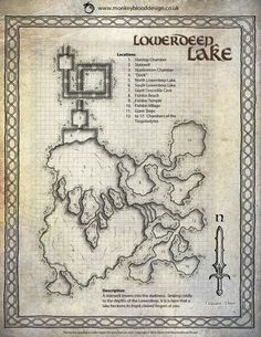 Lowerdeep Lake map cartography | Create your own roleplaying game material w/ RPG Bard: www.rpgbard.com | Writing inspiration for Dungeons and Dragons DND D&D Pathfinder PFRPG Warhammer 40k Star Wars Shadowrun Call of Cthulhu Lord of the Rings LoTR + d20 fantasy science fiction scifi horror design | Not Trusty Sword art: click artwork for source