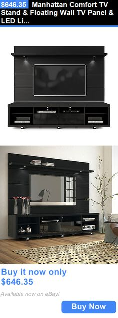 Entertainment Units TV Stands: Manhattan Comfort Tv Stand And Floating Wall Tv Panel And Led Lights Black BUY IT NOW ONLY: $646.35