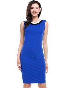 Blue Sleeveless Striped O Neck Pullover Pencil Dress