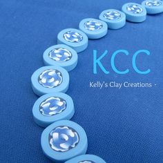 Blue rose polymer clay beads.