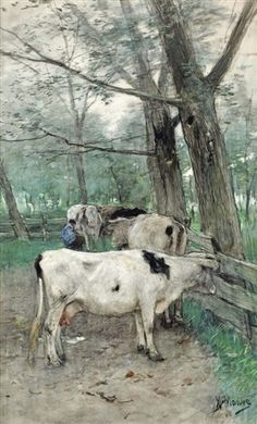 milking time, Painter Anton Mauve |