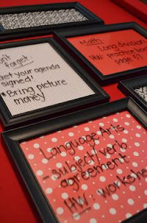 Put scrapbook paper in frames and use as dry erase boards. Love!