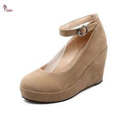 VogueZone009 Femme à Talon Haut Matière Mélangee Couleur Unie Boucle Rond Chaussures Légeres, Abricot, 34 - Chaussures voguezone009 (*Partner-Link)