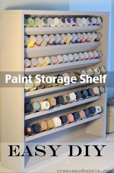 DIY Paint Storage Shelf. This idea will really solve my paint storage dilema. Love the organization, easy access, perfect for my craft room storage.