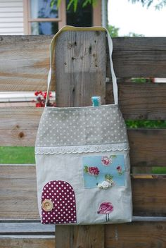 Little House Tote Bag for Kids with handmade appliques