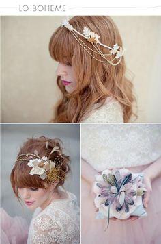 Wedding Hairstyles ~ Loose long locks & large floral hairpiece