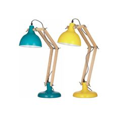 Wade Desk Lamp Wood/Metal Table Teal or Yellow, $129.00