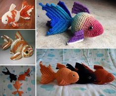 Get lots of Crochet Goldfish Patterns Free Tutorials. We have many great ideas to choose from plus a video tutorial to crochet along with. Cute Crochet, Crochet Crafts, Crochet Dolls, Yarn Crafts, Crochet Baby, Crochet Fish Patterns, Amigurumi Patterns, Crochet Stitches, Yarn Projects