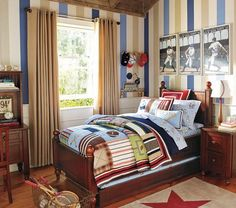 Bedroom, Bedrooms Sport Kids Bedroom Ideas With Stripes Wallpaper With Baseball Theme Of An Image Of An Article With Theme About Sport Room Ideas With Some Design Room With Some Color Wall Paints And Some Furniture About Sport With Blue ~ Sport Room Ideas For Boys Bedroom Or Teenager Boy Room