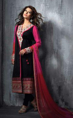 BLACK & PINK GEORGETTE EMBROIDRED SALWAR KAMEEZ - SLF 9660