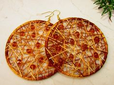 Cat Crochet Earrings / Hoop Geometric Earrings/ Brown by Nimmet