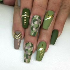 Army green coffin nails