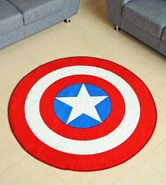 """Captain America Shield: 52"""" Large Round Area Rug"""