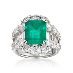 4.85 Carat Emerald and 3.85 ct. t.w. Diamond Ring In 18kt White Gold. Size 7