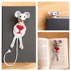 crochet bookmark mouse or rat ;) www.haekelherz.de
