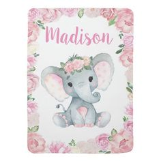 Girl Elephant Baby Blankets Pink Floral Name Tarjetas Baby Shower Niña, Baby Shower Invitaciones, Purple Invitations, Rustic Invitations, Ticket Invitation, Invitation Templates, Shower Invitation, Baby Chower, Baby Pen